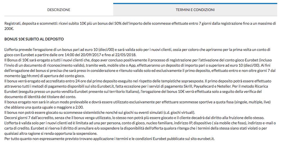 eurobet codice promozionale termini condizioni bonus sport