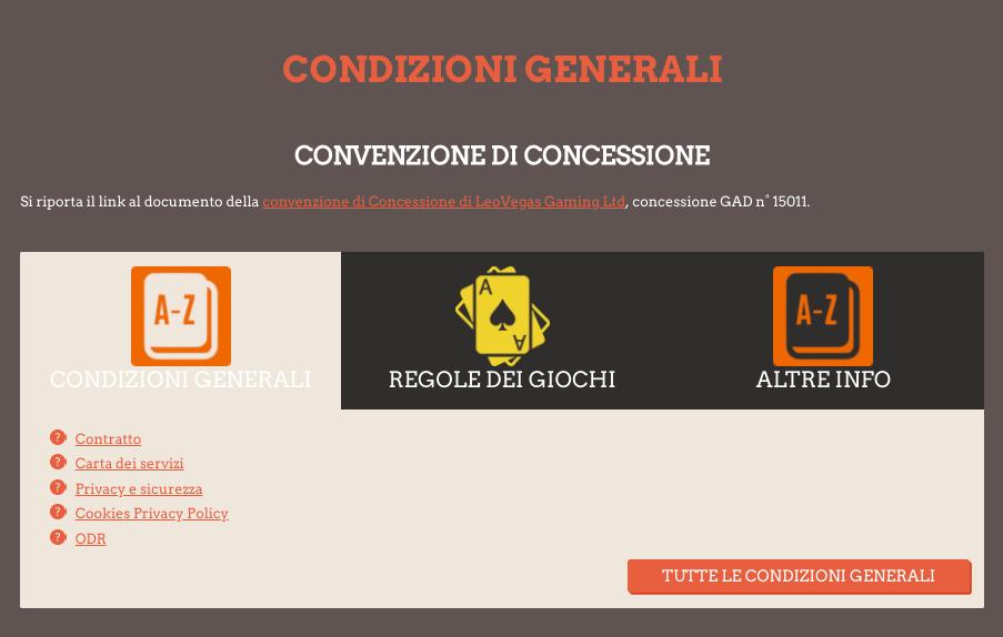 leovegas codice promo termini condizioni generali