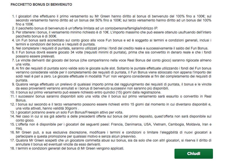 mr green codice bonus termini condizioni