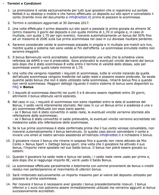 netbet codice partner termini condizioni bonus benvenuto