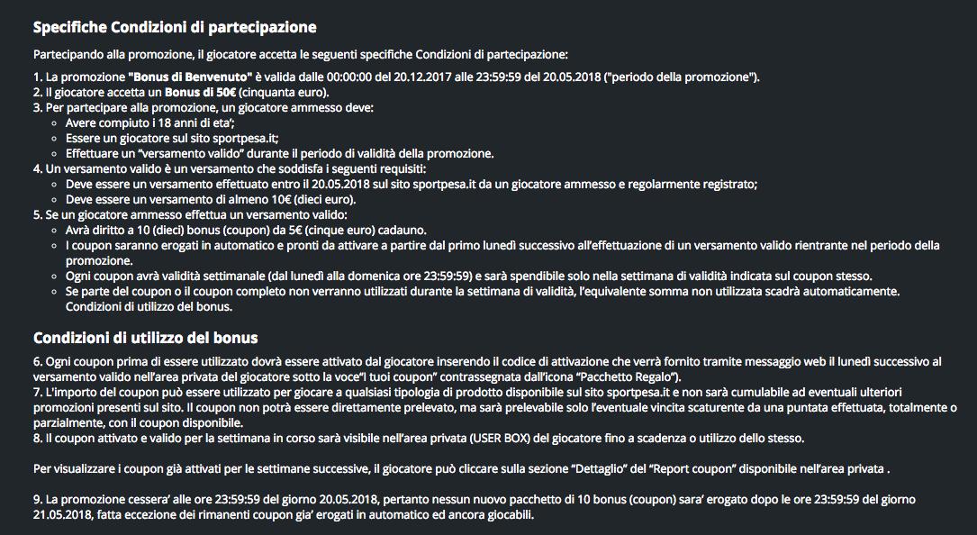 codice promo sportpesa termini condizioni bonus benvenuto