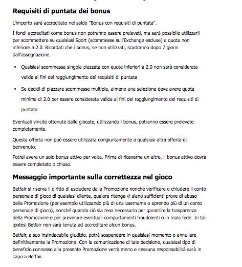 betfair codice promozionale termini e condizioni bonus