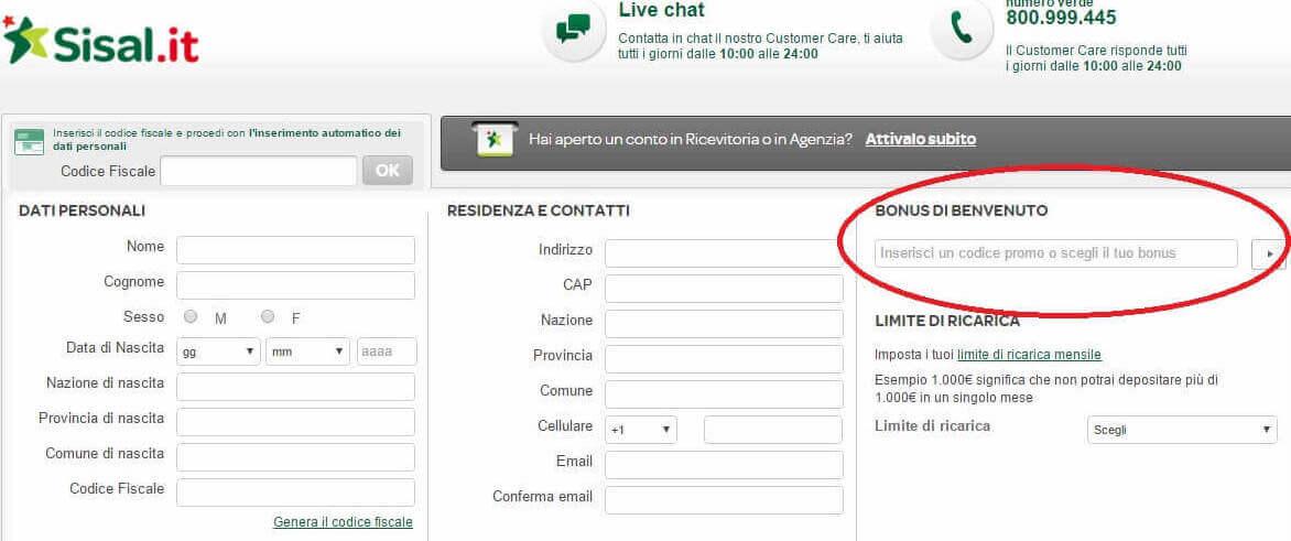codice promozionale sisal registrazione codice