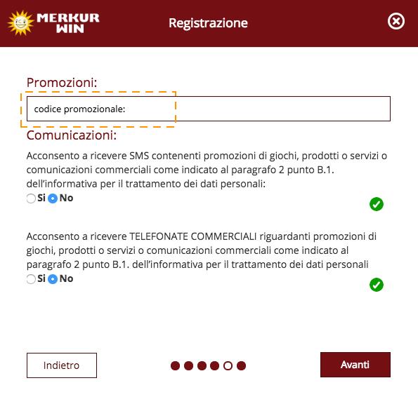 codice promozionale merkur win registrazione
