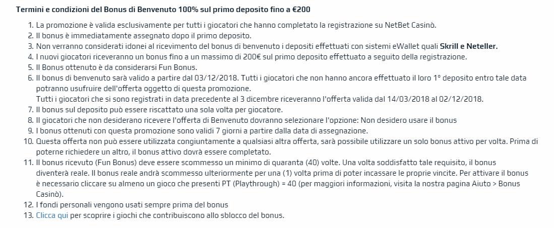 termini condizioni netbet bonus