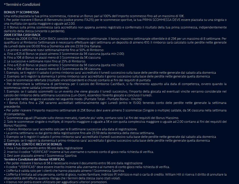 codice promo william hill termini e condizioni