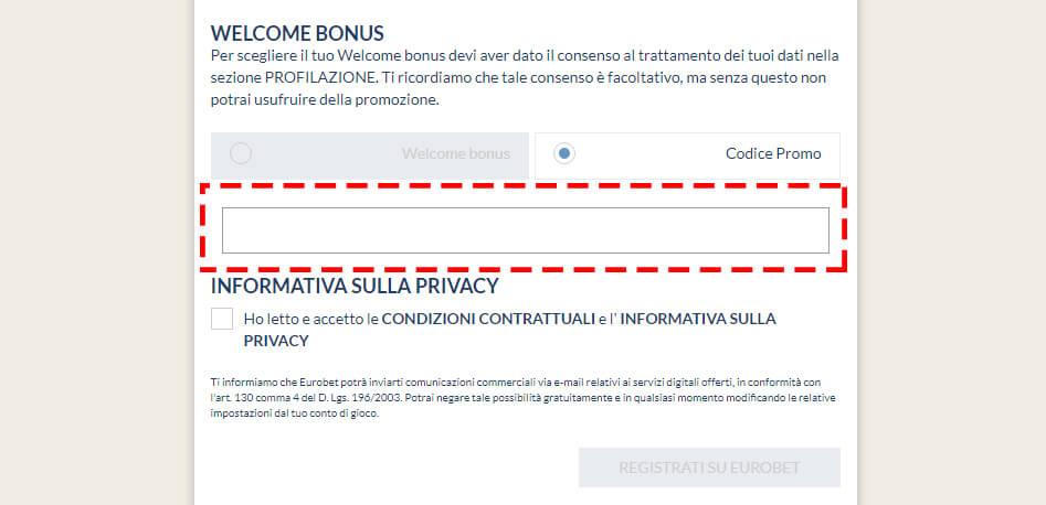 eurobet casino codice promo