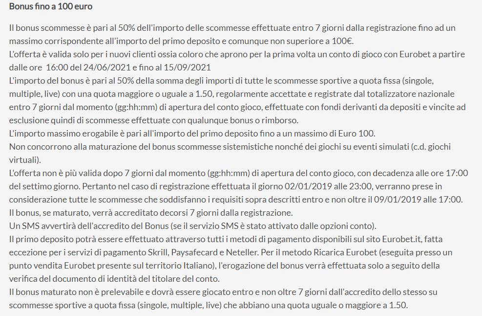 eurobet bonus termini e condizioni